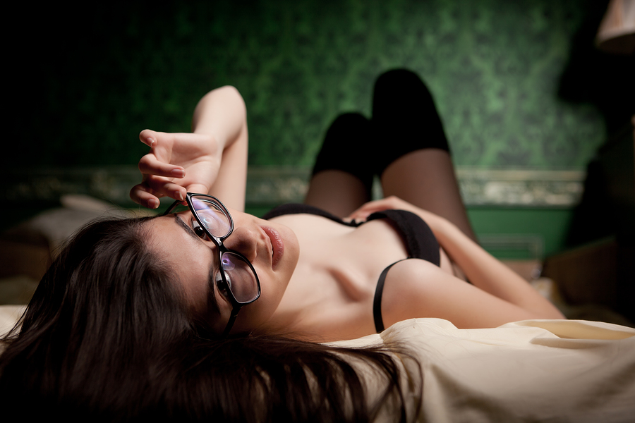 Sexy Young Girl With Glases In Sexy Lingerie